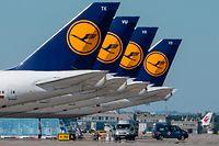 """ARCHIV - 06.05.2020, Hessen, Frankfurt/Main: Stillgelegte Passagiermaschine der Lufthansa stehen auf dem Flughafen Frankfurt. Der Aufsichtsrat der schwer angeschlagenen Lufthansa akzeptiert die von der EU-Kommission gestellten Auflagen für ein staatliches Rettungspaket. (Zu dpa """"Lufthansa-Aufsichtsrat nimmt Auflagen für Staatshilfen an"""") Foto: Boris Roessler/dpa +++ dpa-Bildfunk +++"""