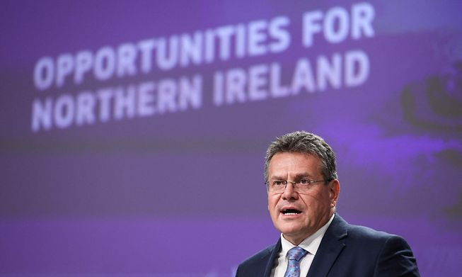 Marcos Šefčovič speaking at a press conference about the Northern Ireland Protocol at the European Commission headquarters in Brussels on Wednesday