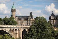 Finanzplatz Luxemburg. Spuerkeess. Pont Adolphe. Photo: Guy Wolff
