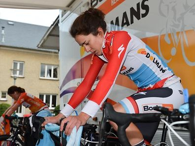 Christine Majerus war nicht in den Farben von Boels-Dolmans, sondern mit dem Nationalteam am Start.