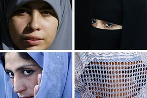 "TO GO WITH AFP STORY BY SAMER AL-ATRUSH<br />(FILES) -- This combination picture created from AFP file images on June 19, 2009 shows Muslim women wearing a Hijab (top L), a Niqab (top R) a Tchador (down L) and a Burqa.  A French parliament report called on January 26, 2010 for a ban on the full Islamic veil, saying Muslim women who wear the burqa were mounting an ""unacceptable"" challenge to French values. After six months of hearings, a panel of 32 lawmakers recommended a ban on the face-covering veil in all schools, hospitals, public transport and government offices, the broadest move yet to restrict Muslim dress in France.<br />   AFP PHOTO (LtoR) CRIS BOURONCLE/FAROOQ NAEEM/BEHROUZ MEHRI/FARZANA WAHIDY"