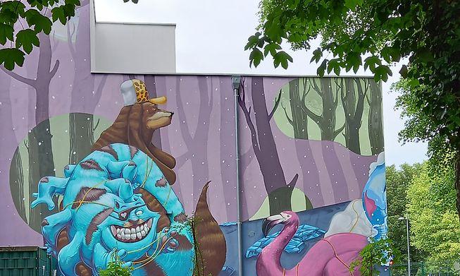 Untitled work street artist PixelJuice on the wall of a school in Esch