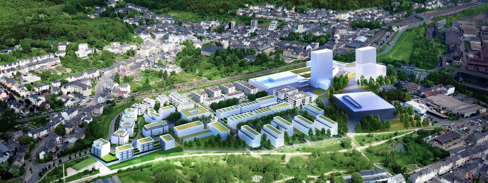 Le futur Centre commercial se trouve en haut à droite. Derrière la tour de gauche, on distingue la toiture végétale (en partie cachée) du mall avec ses puits de lumière centraux et à gauche le grand bâtiment blanc qui abritera l'hypermarché Auchan.