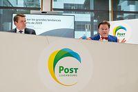Wi , PK Post , Pres Bilan , vlnr Claude Strasser , Serge Allegrezza Foto:Guy Jallay/Luxemburger Wortt