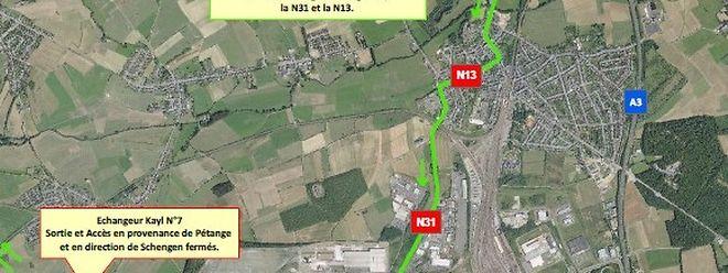 Die A13 ist am Wochenende zwischen dem Anschluss Esch/Alzette und dem Kreuz Düdelingen-Büringen in beide Richtungen gesperrt