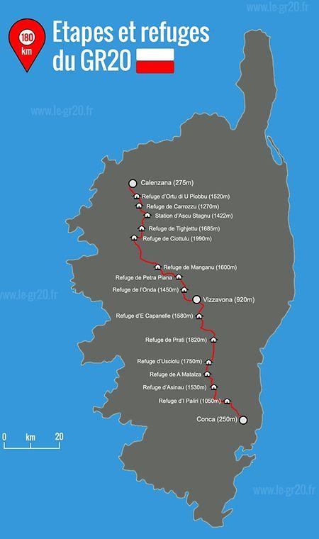 Le parcours de Grande Randonnée (GR) numéro 20 s'étend sur 180 kilomètres et sillonne les hauteurs corses, du nord au sud.