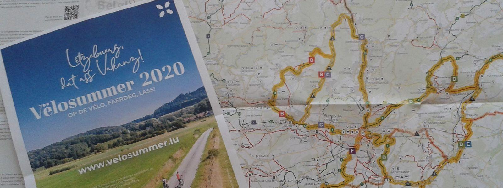 La carte reprend les six tronçons de l'édition 2020 de Vëlosummer mais aussi les pistes cyclables du pays.