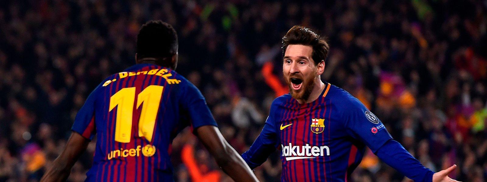 Un duo de buteurs au Barça: le Français Ousmane Dembele et l'Argentin Lionel Messi