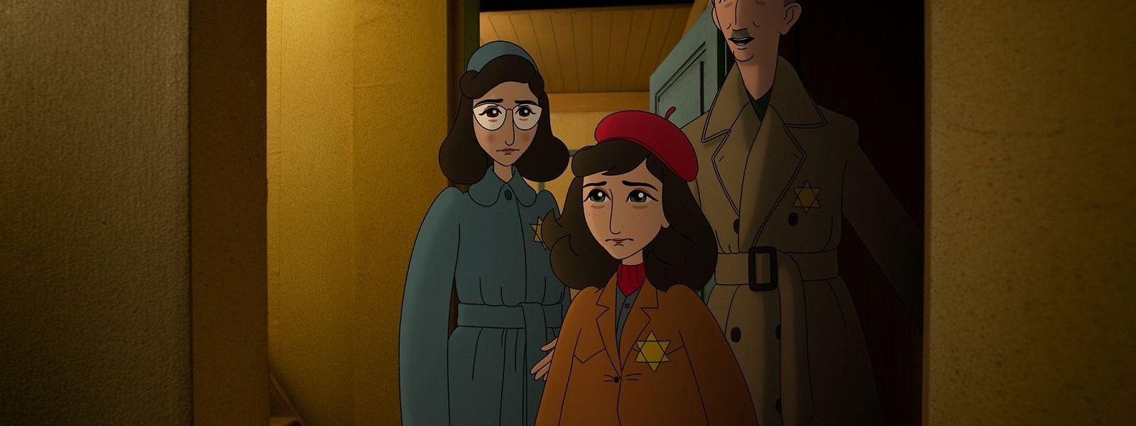 Anne Frank (M.), ihre Schwester Margot (l.) und ihr Vater Otto.