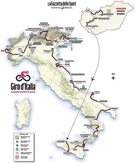 Le parcours du Giro 2020