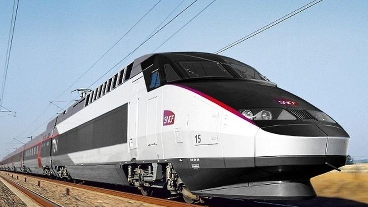 Die Reisegeschwindigkeit des TGV beträgt um die 300 Stundenkilometer.
