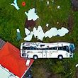 A video grab obtained from drone footage shows the wreckage of a tourist bus that crashed on April 17, 2019 in Canico, on the Portuguese island of Madeira. - At least 28 people were killed when a tourist bus crashed on the Portuguese island of Madeira, the local mayor told local media. The regional protection service did not confirm the toll when questioned by AFP. (Photo by STRINGER / AFP)