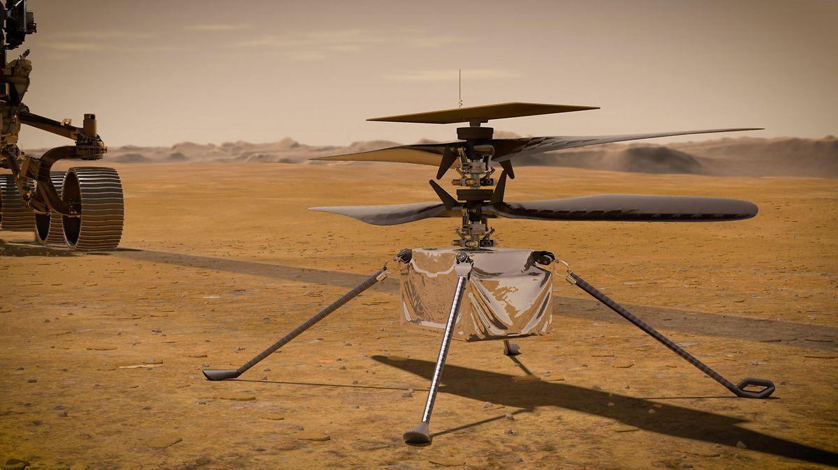 Die von der NASA zur Verfügung gestellte Illustration zeigt den «Ingenuity-Hubschrauber» auf der Marsoberfläche.
