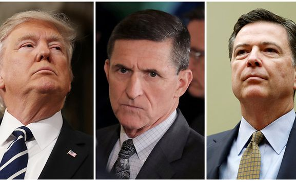 Donald Trump White House National Security Advisor Michael Flynn and FBI Director James Comey