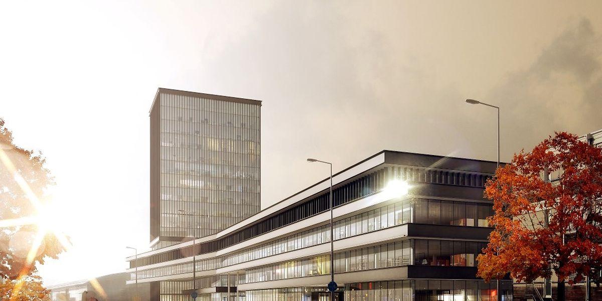 Vue du projet depuis le boulevard Adenauer. On devine l'actuel bâtiment Est à l'arrière-plan, à gauche.