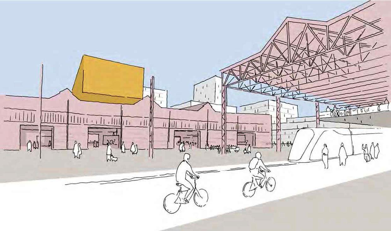 Teile der Walzwerkhallen könnten als Tramhaltestelle für die Expresstram genutzt werden.
