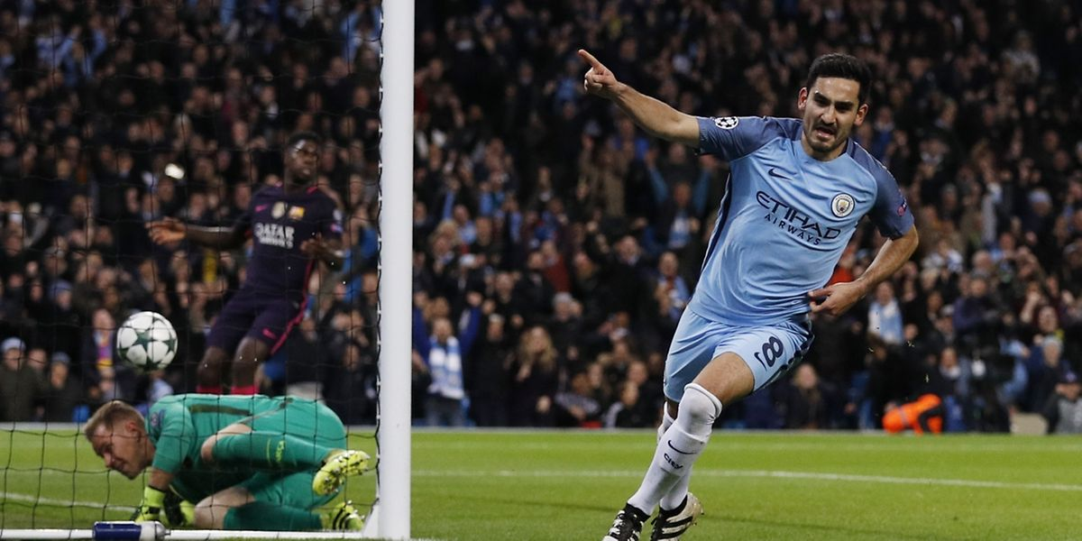 Ilkay Gundogan peut exulter, il a inscrit un doublé pour City face au FC Barcelone.