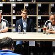 Henri Bossi, entraîneur adjoint, Manou Goergen, et  nouvel entraîneur F91 Dudelange / Foto: Stéphane Guillaume