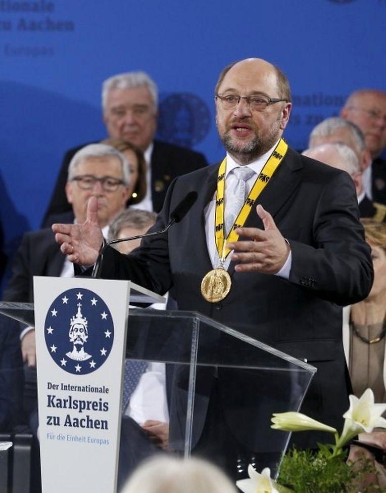 EU-Parlamentspräsident Martin Schulz hat am Donnerstag den Karlspreis erhalten.