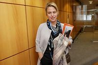 Flemish Minister of Environment, Spatial Planning and Agriculture Joke Schauvliege leaves following a meeting of Flemish christian democrat party CD&V after her declaration on the climate demonstrations caused indignation, on February 5, 2019, at the Flemish Parliament in Brussels. (Photo by THIERRY ROGE / Belga / AFP) / Belgium OUT