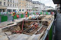 Nei Avenue , Gare , Chantier Tram , alentours  Rousegärtchen , Foto: Guy Jallay/Luxemburger Wort