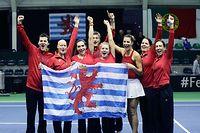 FLT Tennis Fed Cup zwischen Luxemburg und Tunesien im CNT Esch am 09.02.2019 FLT Fed Cup Team nach dem Sieg