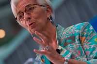 The International Monetary Fund (IMF) managing director, Christine Lagarde speaks during opening remarks for the upcoming 2018 General IMF Meetings in Washington, DC on October 1, 2018. - After sounding the alarm in recent years about threats to the global economy, International Monetary Fund chief Christine Lagarde said risks had begun to materialize and were slowing growth. (Photo by ANDREW CABALLERO-REYNOLDS / AFP)
