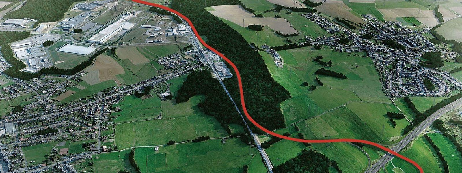 Die Illustration zeigt den Verlauf der 4,2 Kilometer langen Umgehungsstraße Niederkerschen.