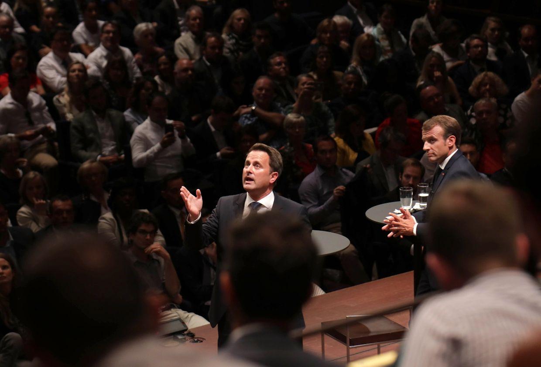 Xavier Bettel e Emmanuel Macron no diálogo com os cidadãos sobre a Europa.