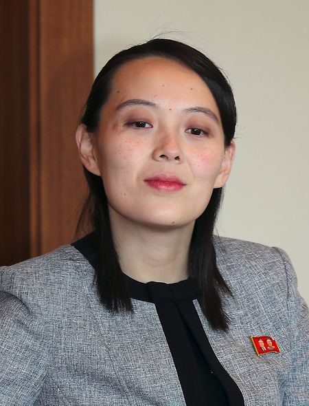 Kim Yo-jong, die Schwester von Kim Jong Un, während eines Treffens mit dem südkoreanischen Premierminister Lee Nak-yon im Februar 2018.