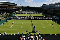 (FILES) In this file photo taken on July 01, 2019 Play goes on on the outer courts at The All England Tennis Club in Wimbledon, southwest London, on July 1, 2019, on the first day of the 2019 Wimbledon Championships tennis tournament. - The 2020 Wimbledon Championships has been cancelled for the first time since World War II due to the coronavirus pandemic, the organisers said in a statement on April 1, 2020, as the virus wreaks further havoc on the global sporting calendar. (Photo by Ben STANSALL / AFP) / RESTRICTED TO EDITORIAL USE
