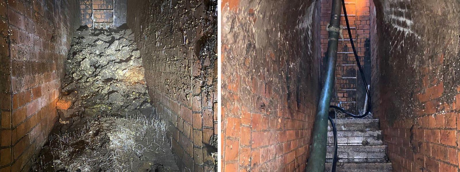Die Handout-Bildkombo, herausgegeben von Thames Water, zeigt einen Tunnel der Kanalisation unter der Yabsley Street, Canary Wharf, vor (l) und nach der Entfernung eines Fettberges.
