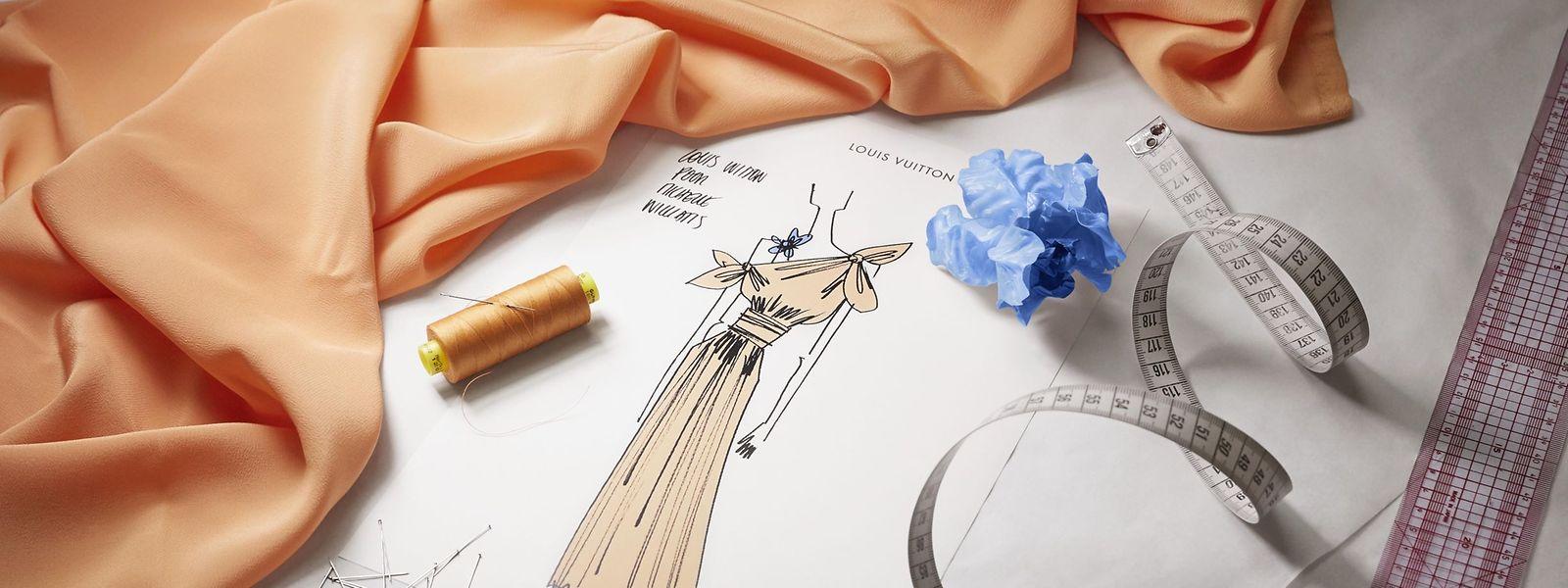 Von der Skizze zum fertigen Traumkleid - Louis Vuitton gewährte Einblick.