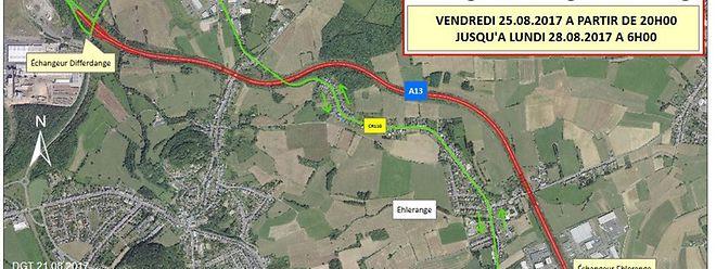 Die A 13 zwischen den Verteilern Ehleringen und Differdingen ist am Wochenende in beide Richtungen gesperrt. Umleitungen werden ausgeschildert.