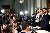 Leader of M5S movement (Five Stars), outgoing deputy Prime Minister and Minister of Economic Development, Labour and Social Policies, Luigi Di Maio gives a press conference after a meeting with Italian President on the second day of consultations of political parties, on August 22, 2019 at the Quirinal palace in Rome. - The Italian President began talks with key political leaders on August 21 to see if a new coalition can be formed, as a proposed alliance between the anti-establishment Five Star Movement and opposition centre-left Democratic Party appeared to gain traction. (Photo by Vincenzo PINTO / AFP)