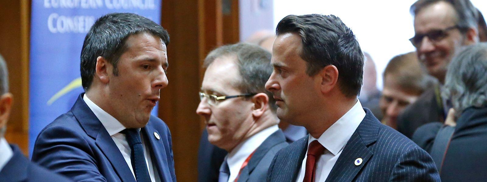 Matteo Renzi, ici en compagnie de son homologue Xavier Bettel lors d'un sommet européen.