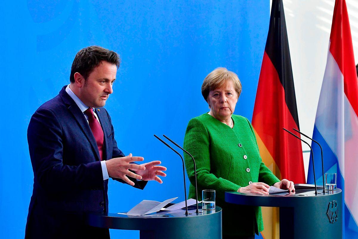 Xavier Bettel et Angela Merkel lors de la conférence de presse.
