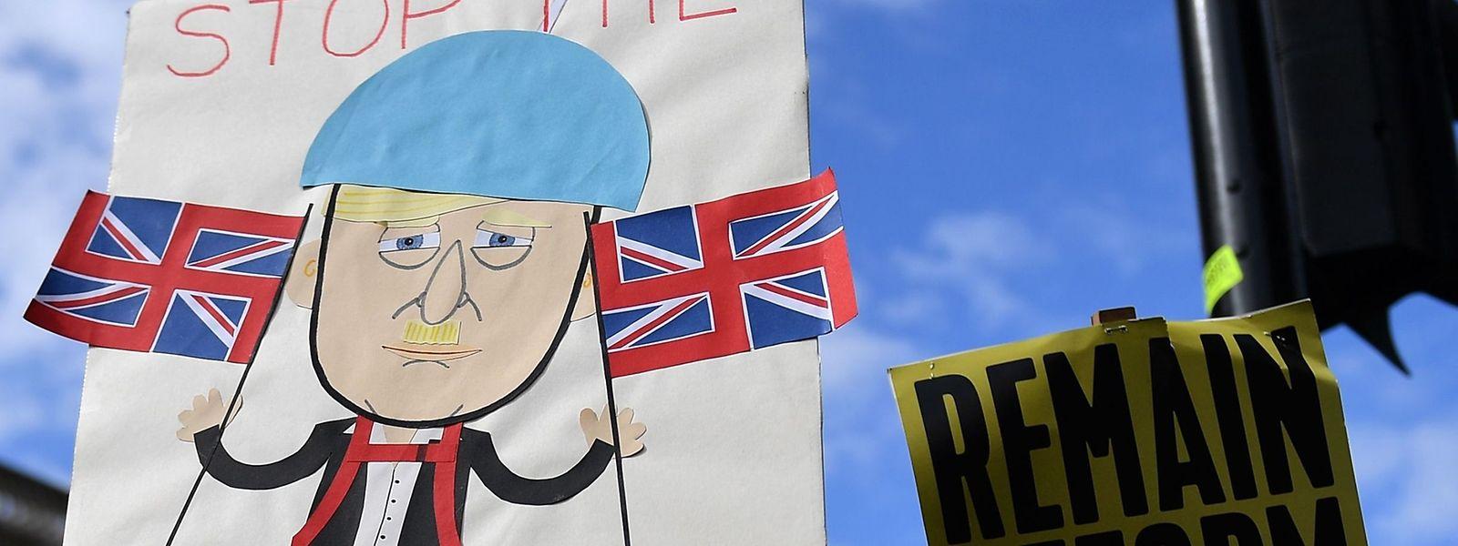 Demonstranten protestieren gegen den Brexit und die Zwangspause des Parlaments vor dem Westminster Palace.