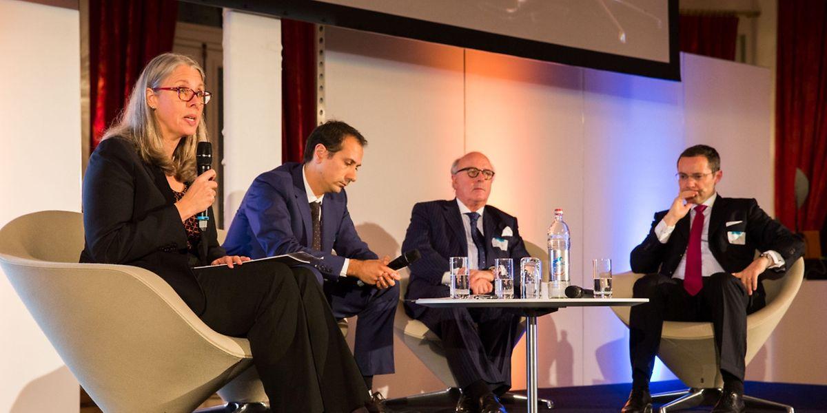 Was erwarten sich die Unternehmen von der Steuerreform? Darüber diskutierten Denise Voss (Alfi), Christophe Velle (Intesa Sanpaolo Holding), Norbert Becker und Keith O'Donnell (beide Atoz).