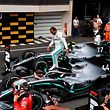 Winner Mercedes' British driver Lewis Hamilton celebrates in the pits after the Formula One Grand Prix de France at the Circuit Paul Ricard in Le Castellet, southern France, on June 23, 2019. (Photo by GERARD JULIEN / AFP)