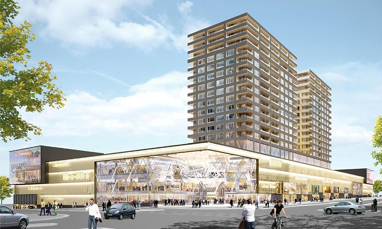 Vue du projet depuis l'entrée piétonne, à l'angle des boulevards Raiffeisen et Kockelscheuer. L'un des souhaits du projet est d'animer cet angle, d'en faire une agora.