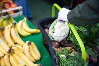 18.03.2020, Hamburg: Ein Kunde mit dünnen Schutzhandschuhen steht mit seinem Einkaufskorb vor einem kleinen Gemüse- und Lebensmittelladen. Wegen der Corona-Pandemie müssen viele Geschäfte auf Behördliche Anweisung für die nächsten Wochen schliessen. Ausgenommen sind Verkaufsstellen für Lebensmittel, Wochenmärkte, Apotheken, Drogerien, Tankstellen, Banken und Ähnliches. Foto: Christian Charisius/dpa +++ dpa-Bildfunk +++