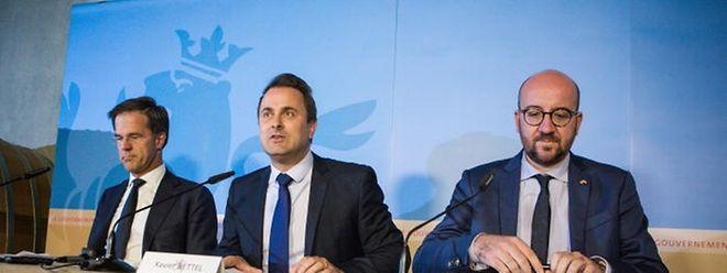 Premier Bettel führte beim Benelux-Gipfel in Schengen Gespräche mit Mark Rutte aus den Niederlanden und Charles Michel aus Belgien.  - Photo : Pierre Matgé