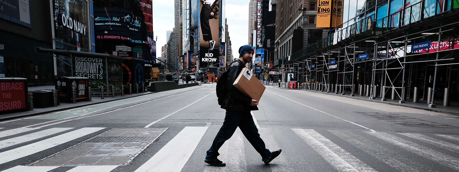 So menschenleer wie während der vergangenen Tage, sah man den Times Square noch selten.