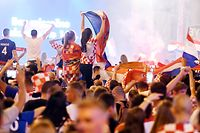 Croatia's fans celebrate victory against Russia in the Croatian capital Zagreb's main square after the 2018 FIFA World Cup Russia Round of 8 match between Russia and Croatia on July 7, 2018.  / AFP PHOTO / Denis Lovrovic