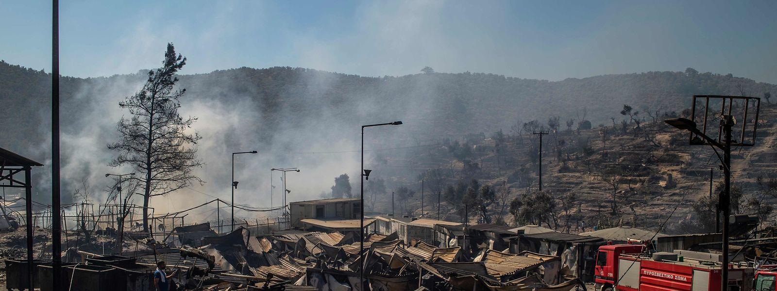 Zerstörungen im Flüchtlingslager Moria.
