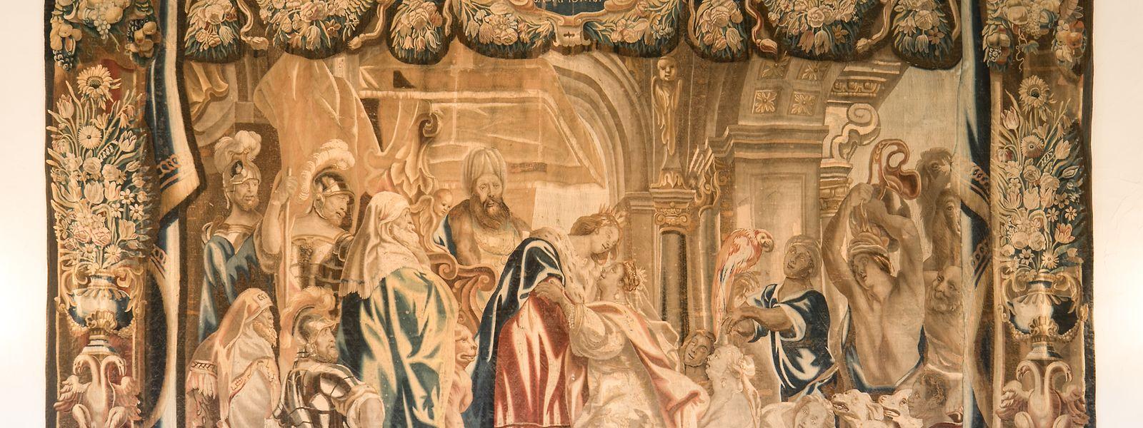 """Die über fünf Meter breite Bildwirkerei """"Begegnung der Königin von Saba und König Salomon"""" wurde im 17. Jahrhundert in Flandern, in der Region von Tournai hergestellt."""