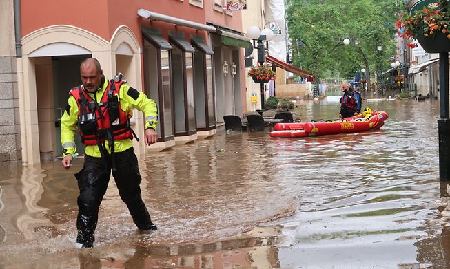 Rescue operation in Echternach after the floods