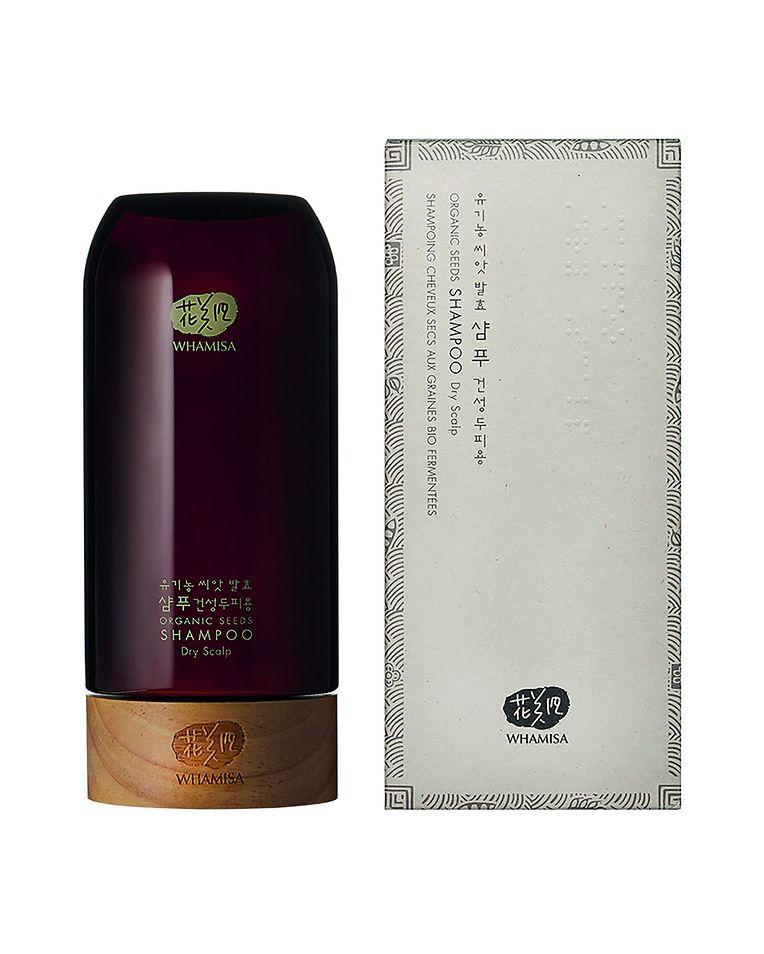 Bio-Shampoo für trockenes Haar von Whamisa (500 ml um 38 Euro über senteursdailleurs.com).