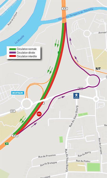 La déviation fera passer les automobilistes par le giratoire Cormontaigne, à Thionville.